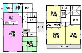 新築戸建 東区新外 第2(Ⅱ期) 2号棟間取り